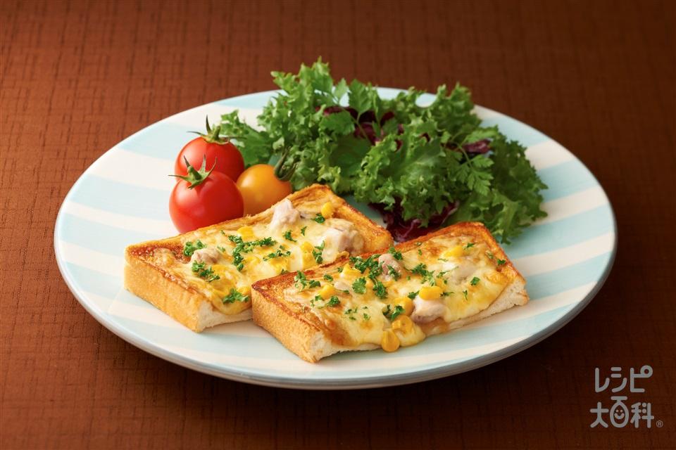 ガリバタ鶏用deピザ~「ビストロ」を使って~(食パン6枚切り+「Cook Doきょうの大皿」ガリバタ鶏用を使ったレシピ)