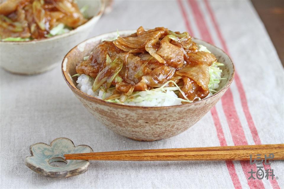 豚の照り焼き丼(豚バラ薄切り肉+ご飯を使ったレシピ)