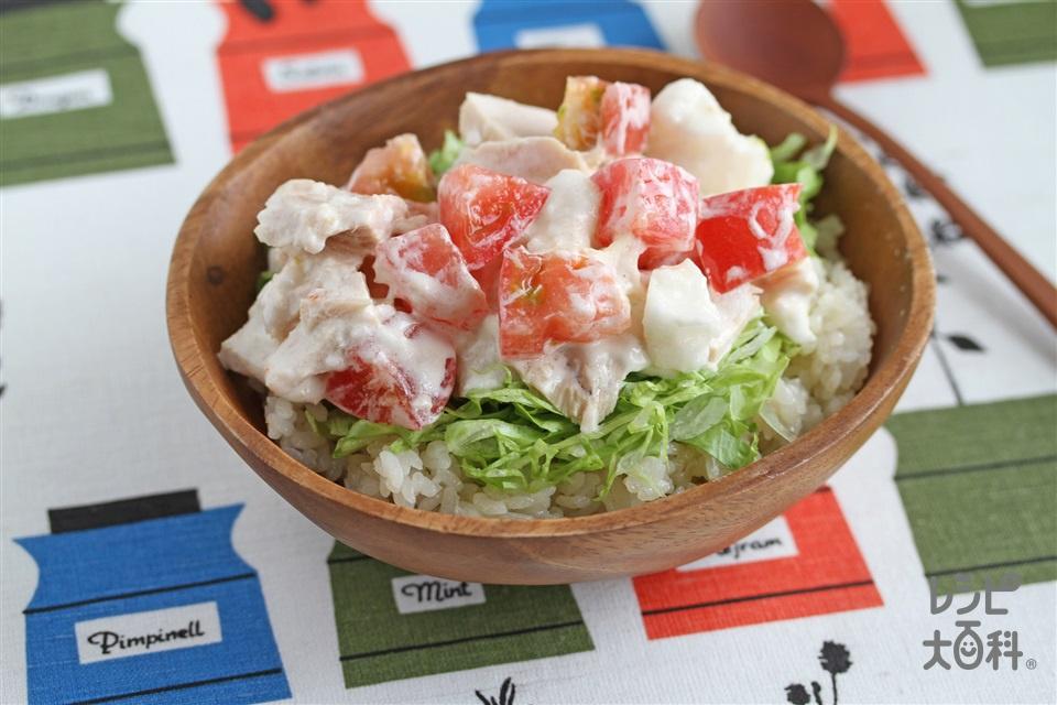 トマトと長いもの冷やしツナご飯(トマト+ご飯を使ったレシピ)
