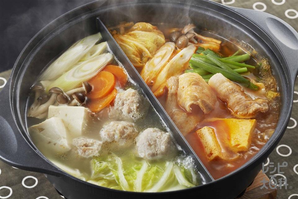 二色鍋(鶏ひき肉+A「瀬戸のほんじお」を使ったレシピ)