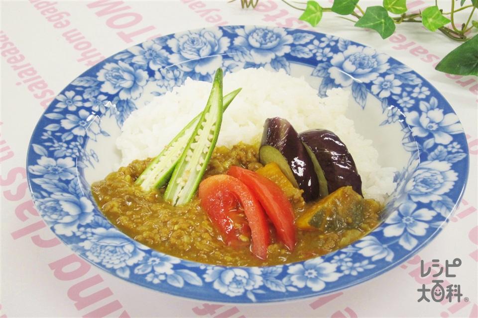 夏野菜のキーマカレー(合いびき肉+玉ねぎを使ったレシピ)