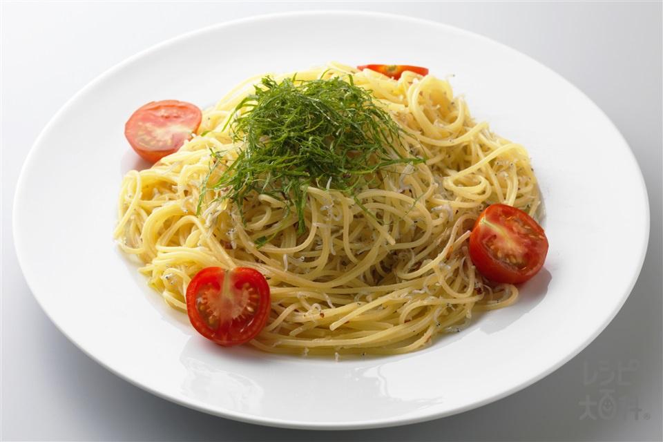 大葉とじゃこのパスタ(スパゲッティ+ミニトマトを使ったレシピ)