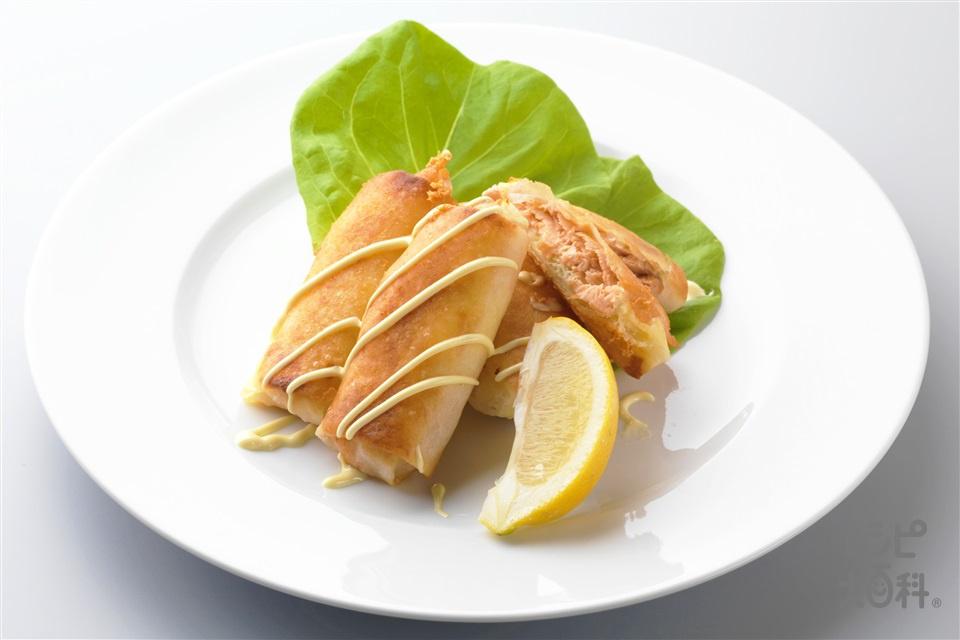 鮭の春巻き風(春巻の皮+さけを使ったレシピ)