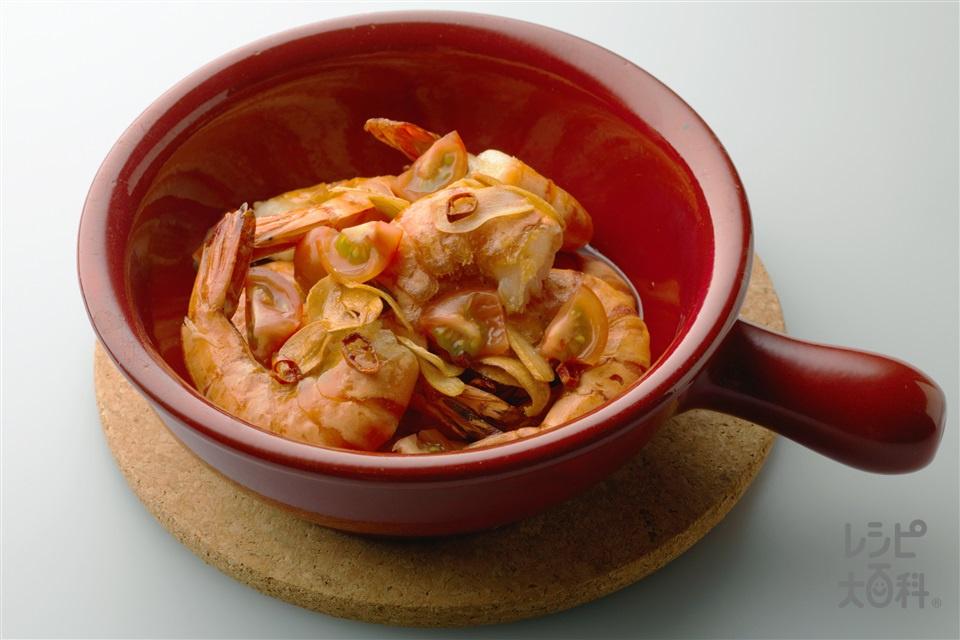 殻付きで食べる海老のにんにく風味(えび+ミニトマトを使ったレシピ)