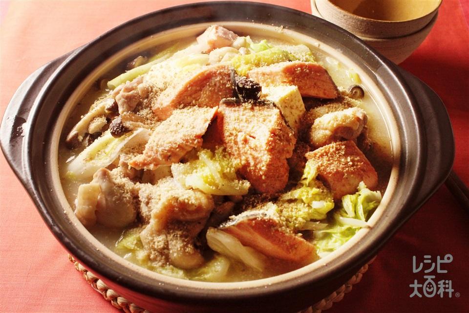 鮭と鶏の石狩風鍋(白菜+木綿豆腐を使ったレシピ)