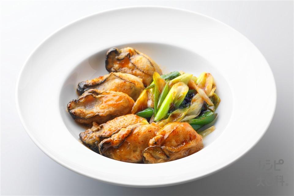 牡蠣と長ねぎのガーリックバター(かき(むき身)+長ねぎを使ったレシピ)