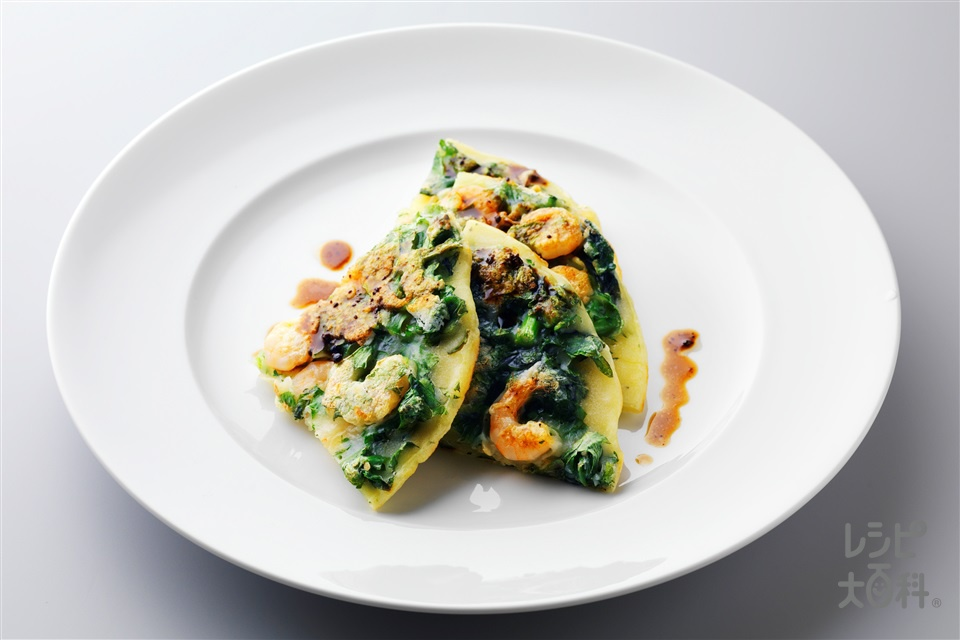 春菊とえびのチヂミ(むきえび+春菊を使ったレシピ)