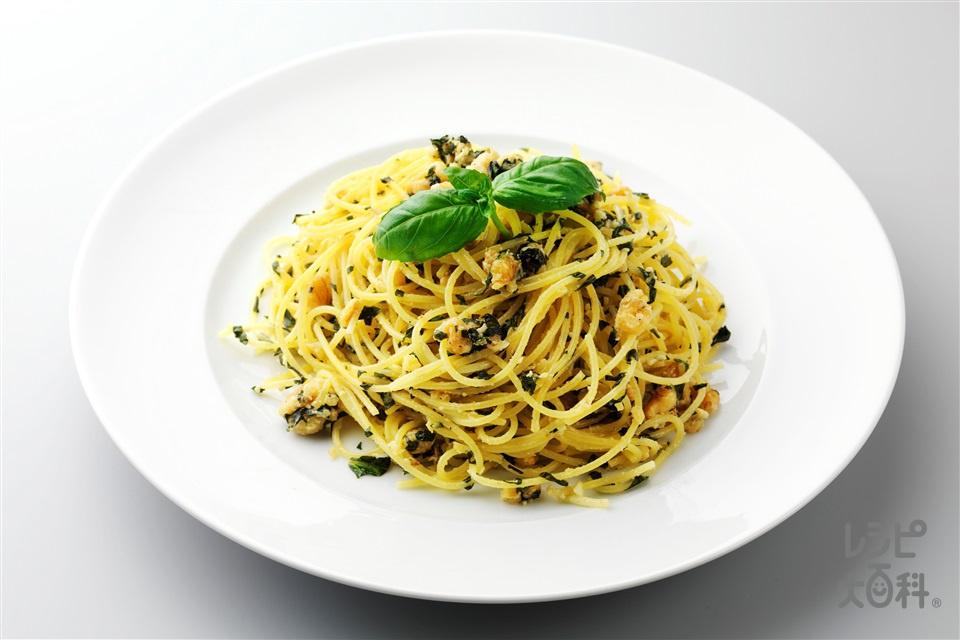 トスカーナ風クルミとバジルのパスタ(スパゲッティ+バジルの葉を使ったレシピ)