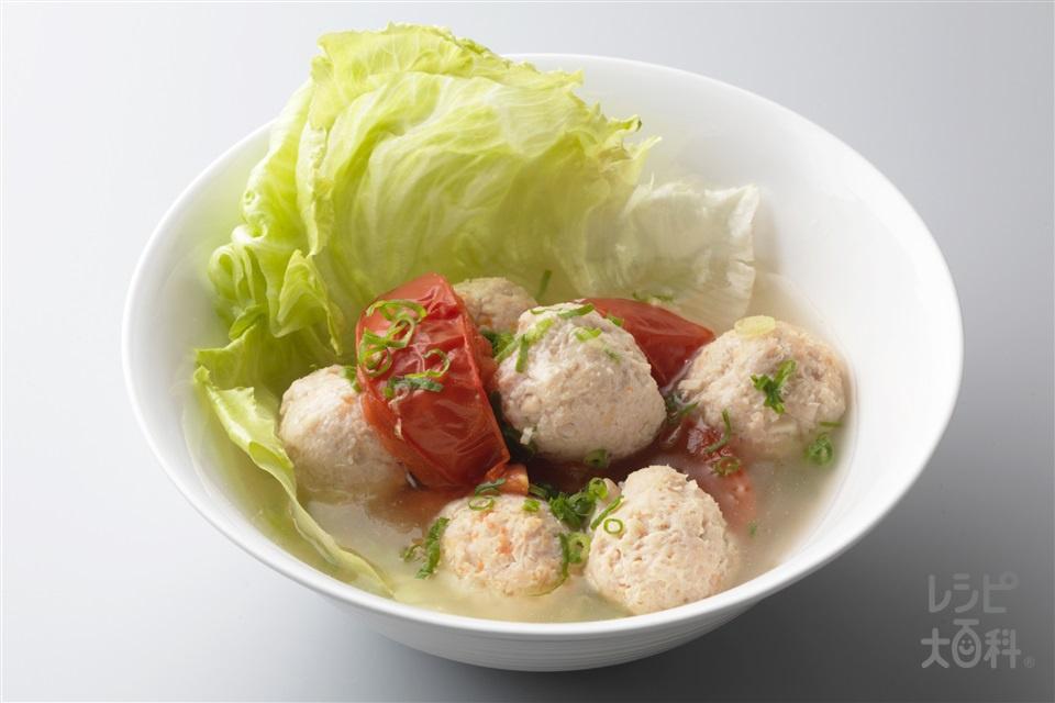 ふんわり鶏だんごの鍋仕立て(鶏ひき肉+トマトを使ったレシピ)