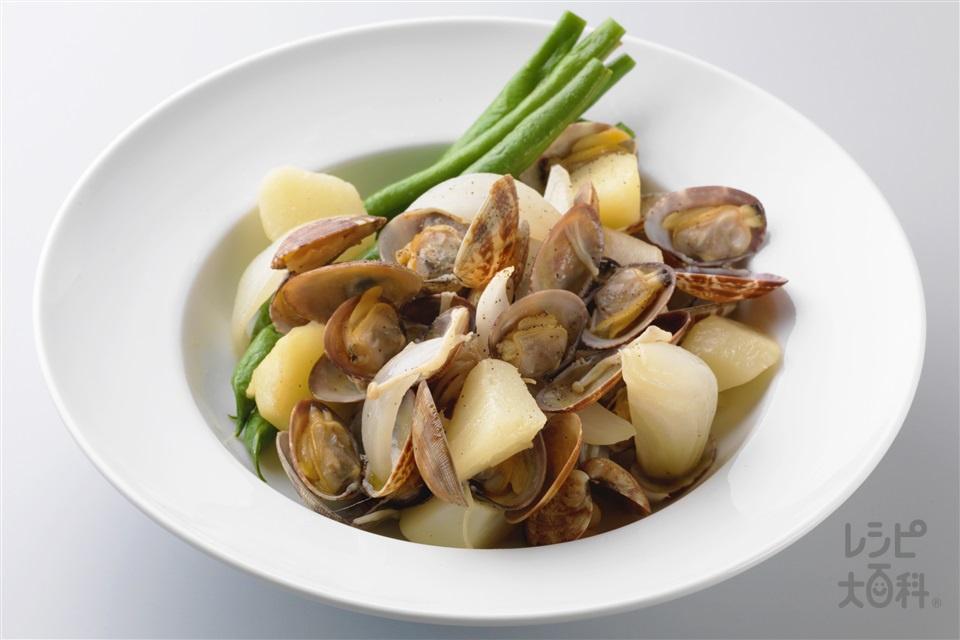 あさりと野菜のバター風味 (あさり(殻つき)+じゃがいもを使ったレシピ)
