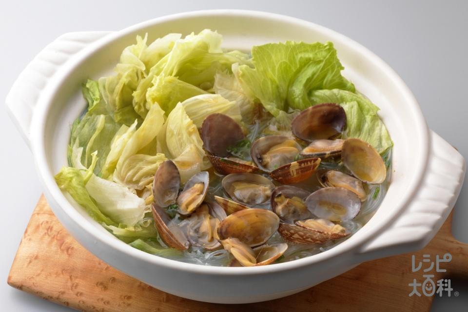 アサリと小ネギの春雨スープ鍋(あさり(殻つき)+レタスを使ったレシピ)