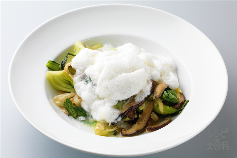 チンゲン菜のふわふわ帆立ソース(チンゲン菜+卵白を使ったレシピ)