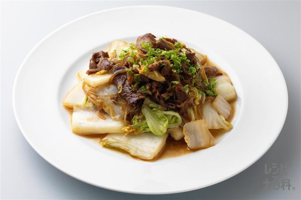 糸こんにゃくと白菜のすき焼き風(牛もも薄切り肉(赤身)+白菜を使ったレシピ)