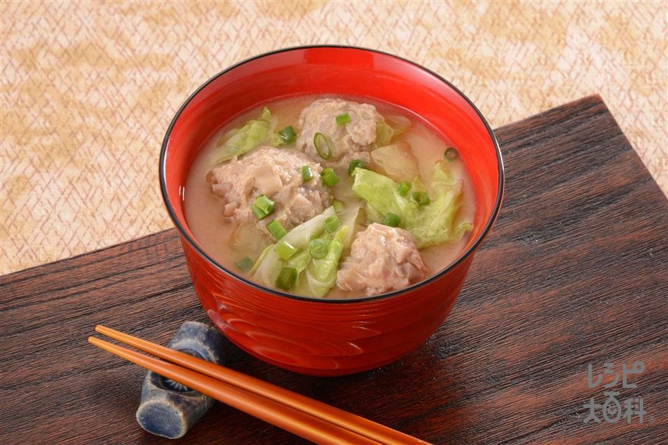 シャキッとれんこん団子のみそ汁(豚ひき肉+白菜を使ったレシピ)