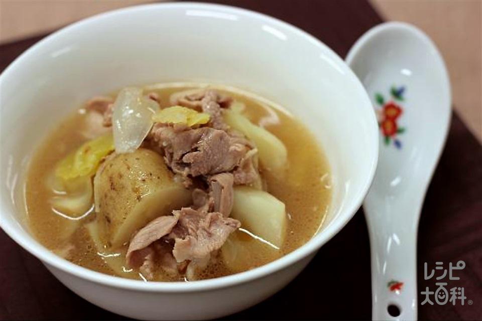 豚じゃが中華椀(豚こま切れ肉+じゃがいも(大)を使ったレシピ)