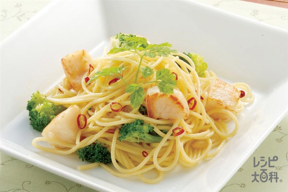 ほたてとブロッコリーのペペロンチーノ(スパゲッティ+帆立貝柱を使ったレシピ)