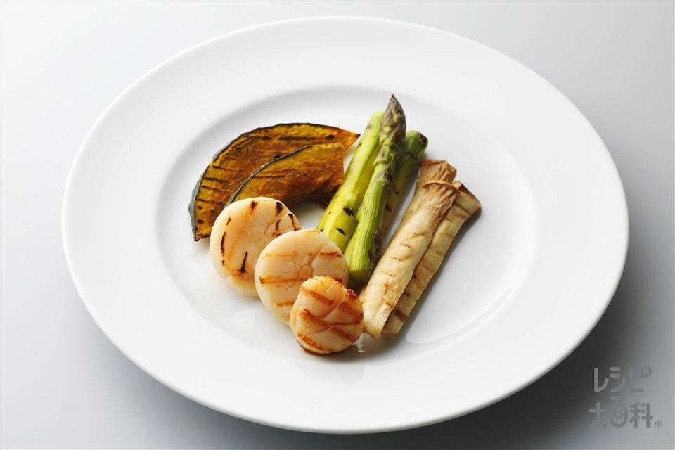 帆立貝柱と野菜の焼き浸し(帆立貝柱+かぼちゃを使ったレシピ)
