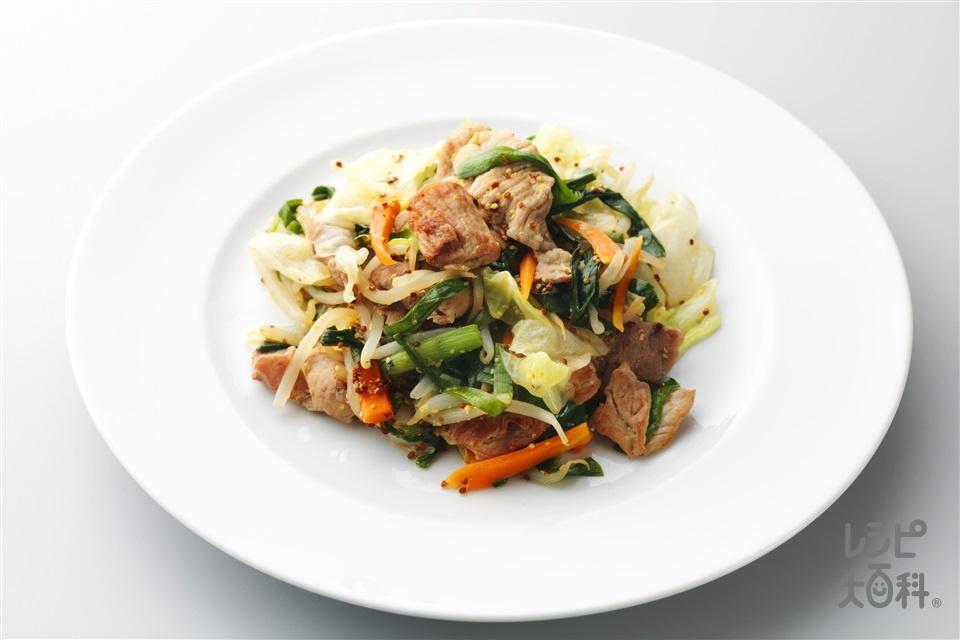 野菜と豚肉のマスタード炒め(豚もも薄切り肉+キャベツを使ったレシピ)