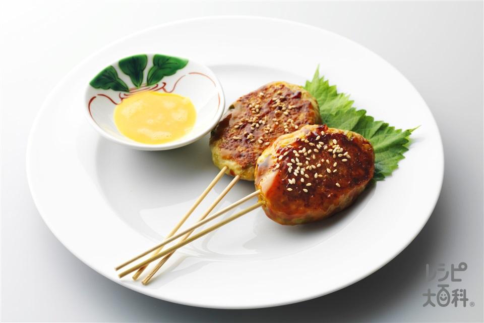つくね串生卵添え(鶏ひき肉+れんこんを使ったレシピ)