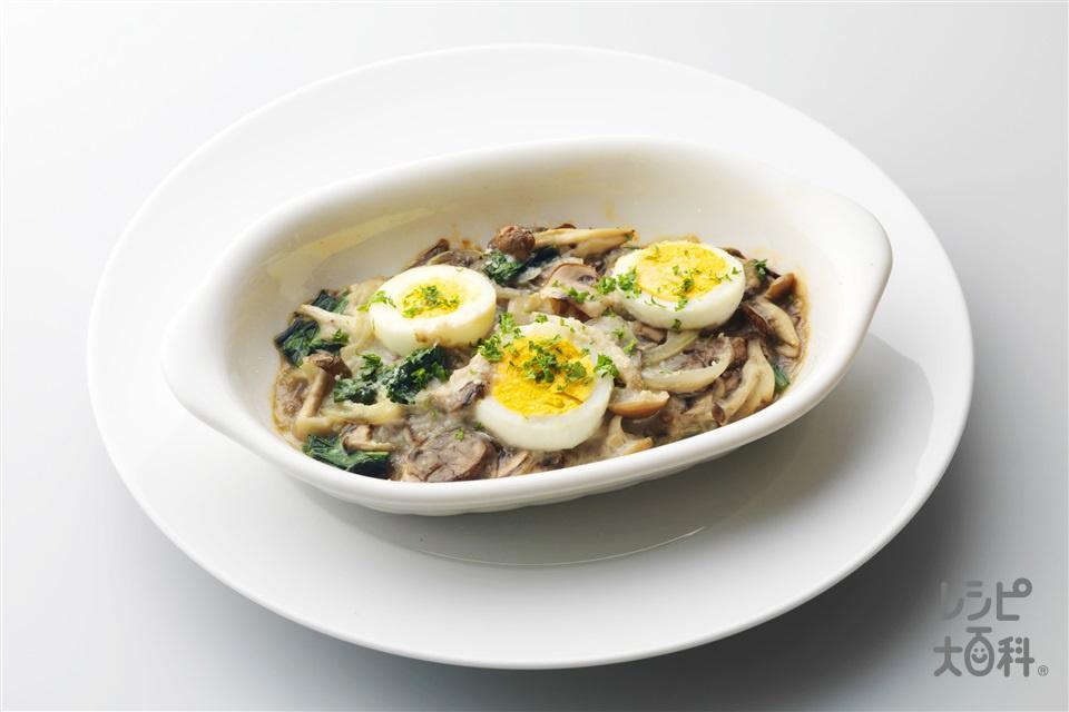 卵と野菜のさっぱりグラタン(ゆで卵+牛乳を使ったレシピ)