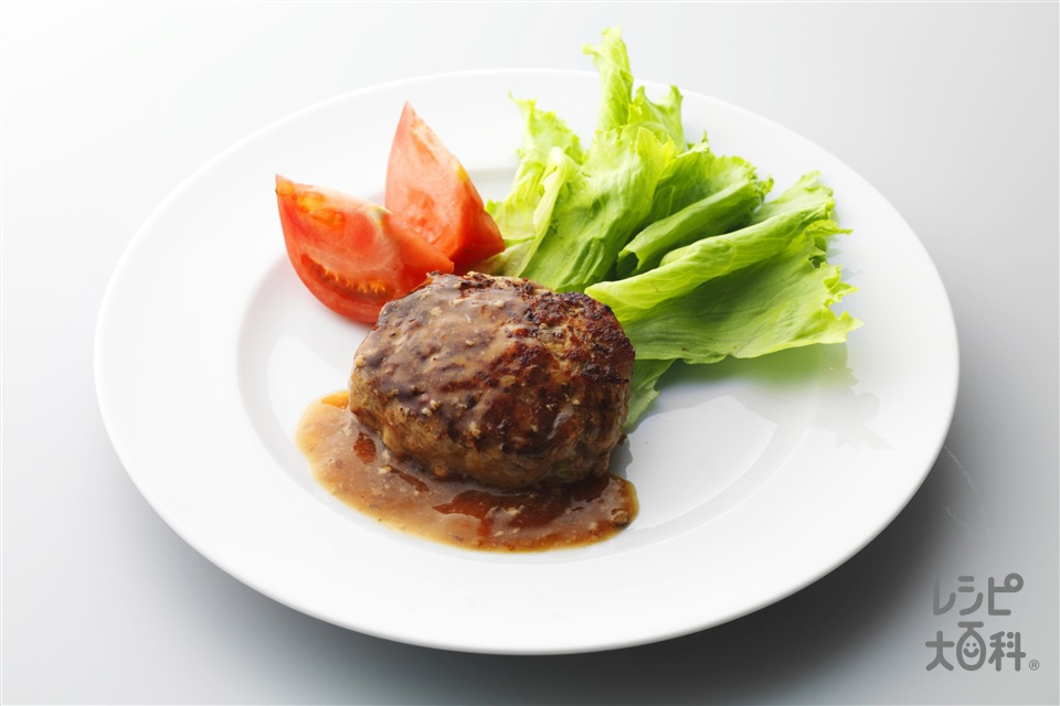 ビーフこんにゃくハンバーグ(牛もも赤身肉+こんにゃくを使ったレシピ)