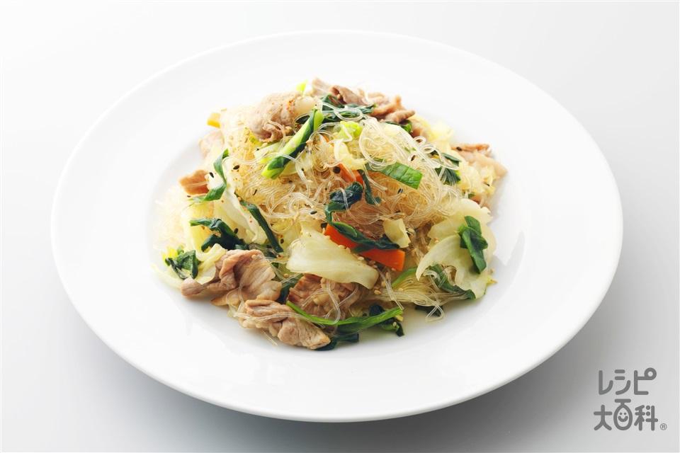 豚肉とキャベツと春雨のチャプチェ(豚もも薄切り肉+キャベツを使ったレシピ)