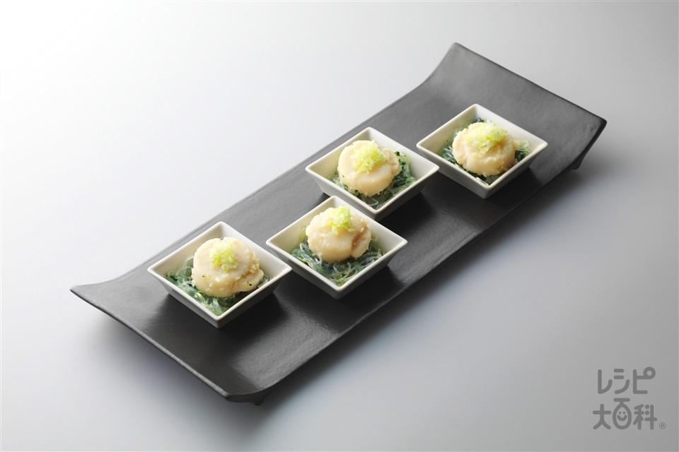帆立貝柱と春菊と春雨のにんにく蒸し(帆立貝柱(刺身)+春菊を使ったレシピ)