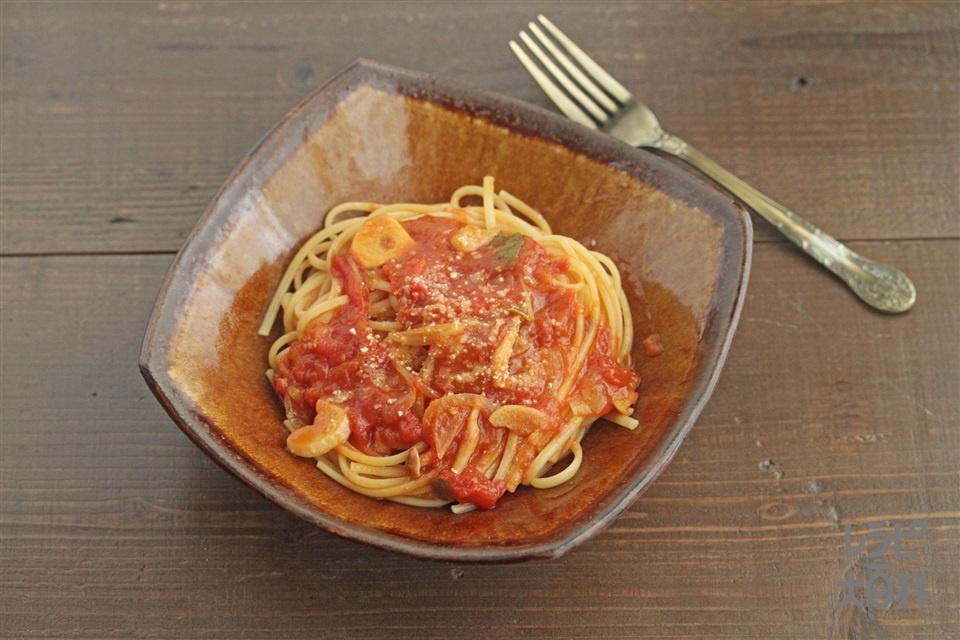 トマトすき焼き風鍋の〆(スパゲッティ+粉チーズを使ったレシピ)