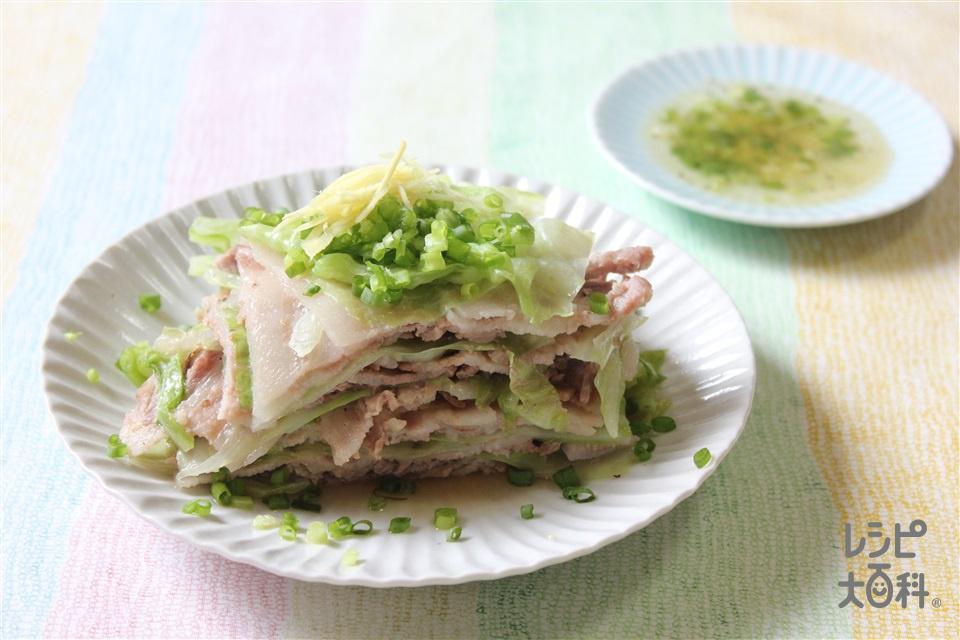 フライパンで!キャベツと豚しゃぶの重ね蒸し(キャベツ+豚バラ薄切り肉を使ったレシピ)