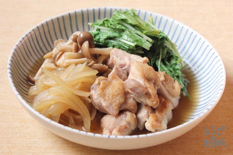 フライパンで!鶏肉のすき煮風(鶏もも肉+水菜を使ったレシピ)