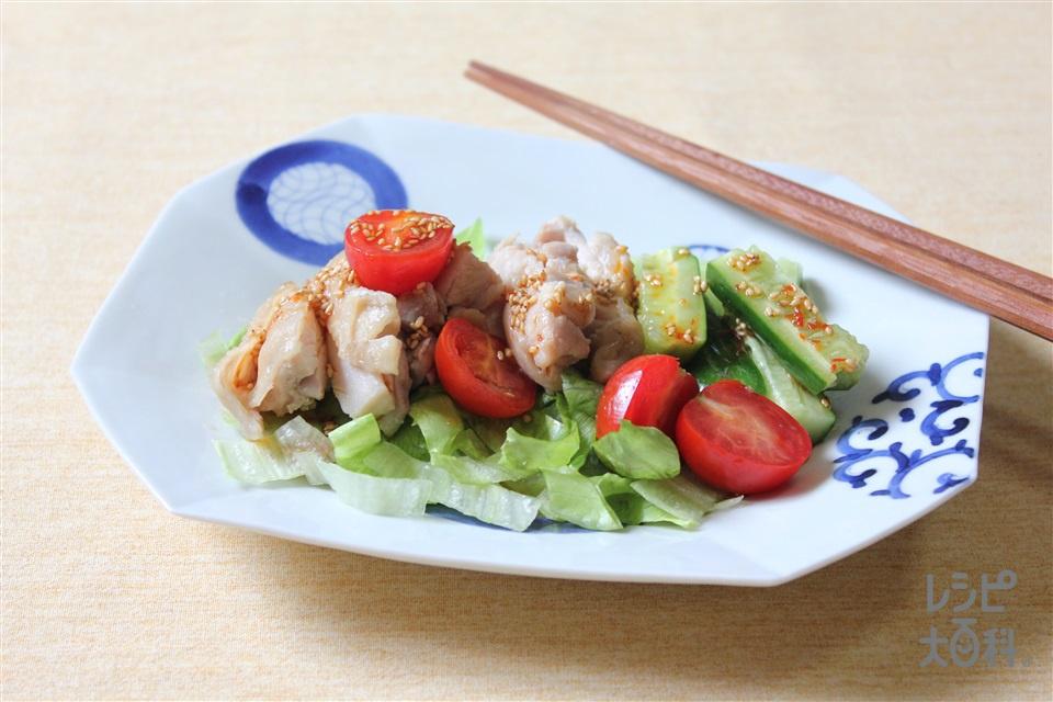 蒸し鶏のピリ辛南蛮だれ(鶏もも肉+レタスを使ったレシピ)
