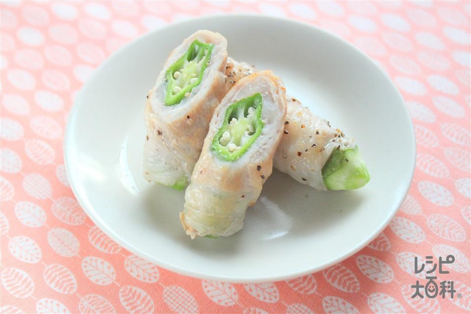 オクラの豚肉巻き(オクラ+豚ロース薄切り肉を使ったレシピ)