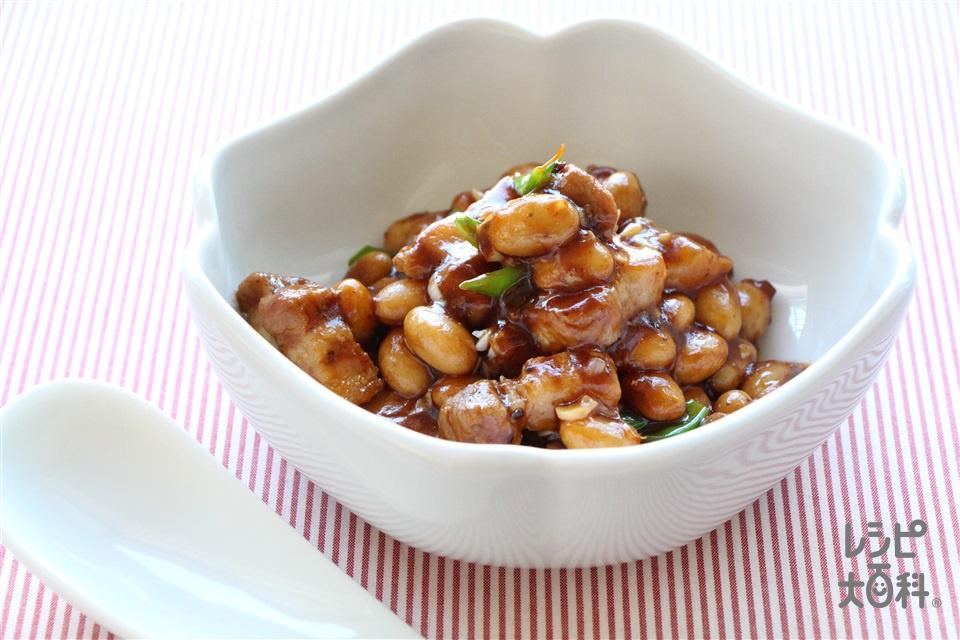 麻婆大豆(豚バラかたまり肉+大豆の水煮缶を使ったレシピ)
