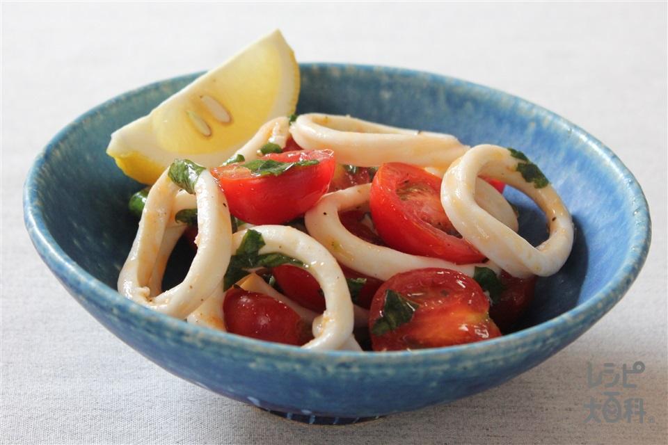 いかとトマトのバジルあえ(いか(胴)+ミニトマトを使ったレシピ)
