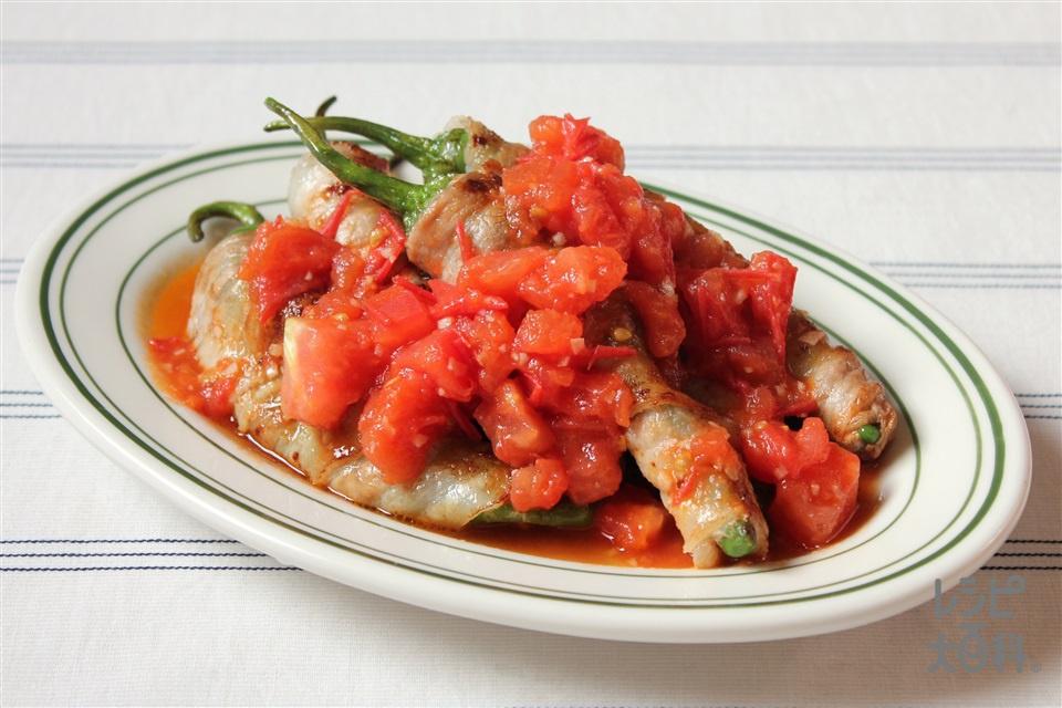 甘とうがらしの豚バラ巻き(豚バラ薄切り肉+「瀬戸のほんじお」を使ったレシピ)