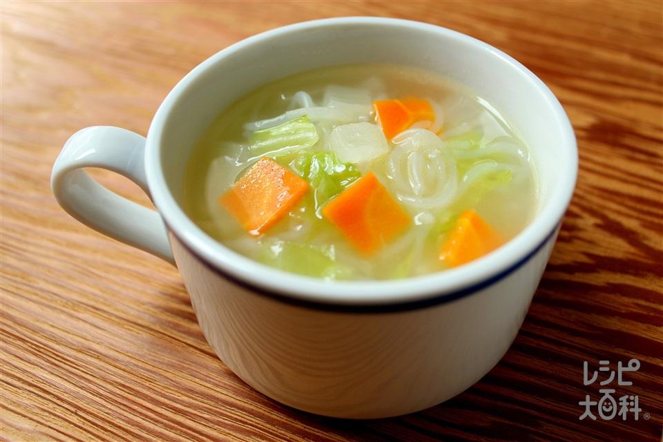 しらたきの野菜スープ(しらたき+にんじんを使ったレシピ)