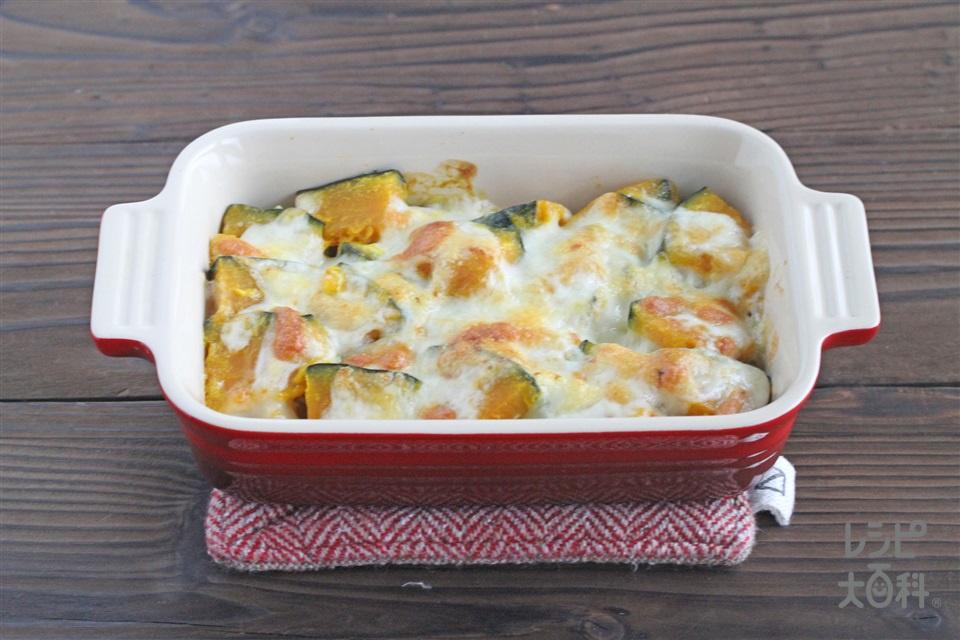 かぼちゃのグラタン(かぼちゃ+ピザ用チーズを使ったレシピ)