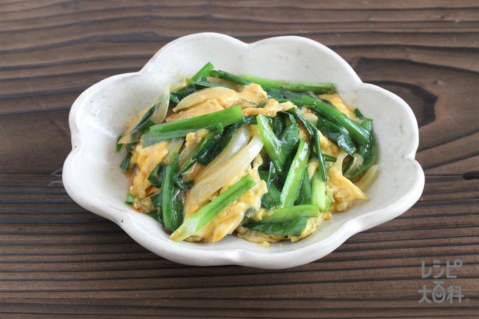 ニラと卵のオイスター炒め(にら+玉ねぎを使ったレシピ)