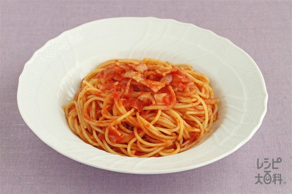 トマトとベーコンのパスタ(スパゲッティ+ホールトマト缶を使ったレシピ)