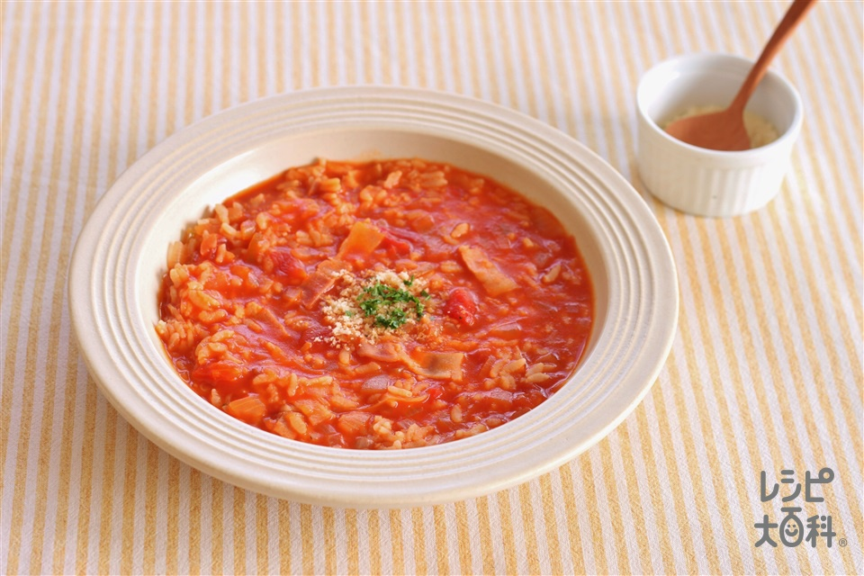 トマトキムチリゾット(ご飯+カットトマト缶を使ったレシピ)