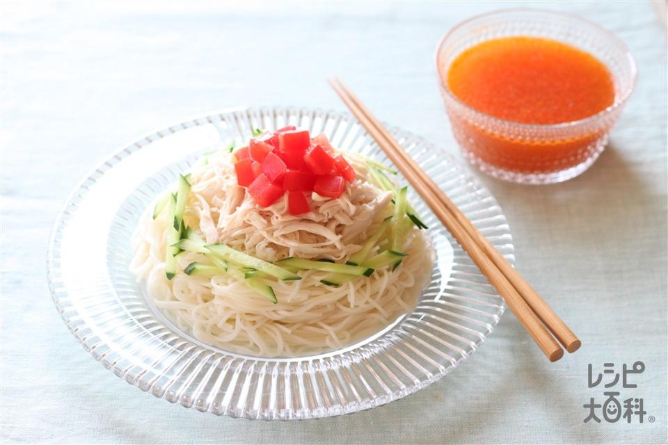 キムチそうめん(そうめん+トマトを使ったレシピ)