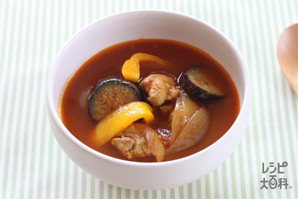 チキンと野菜のスープカレー(鶏もも肉+カットトマト缶を使ったレシピ)
