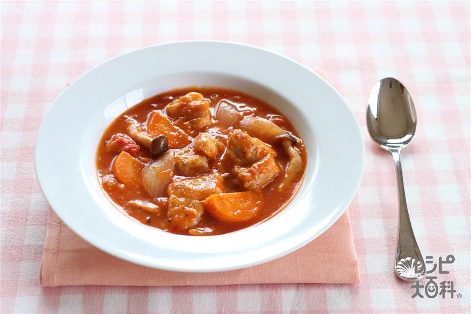 チキンカチャトラ(鶏の狩人風トマト煮込み)(鶏もも肉+カットトマト缶を使ったレシピ)
