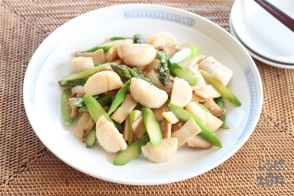 ホタテとアスパラとエリンギのうま塩炒め(帆立貝柱(刺身)+A酒を使ったレシピ)