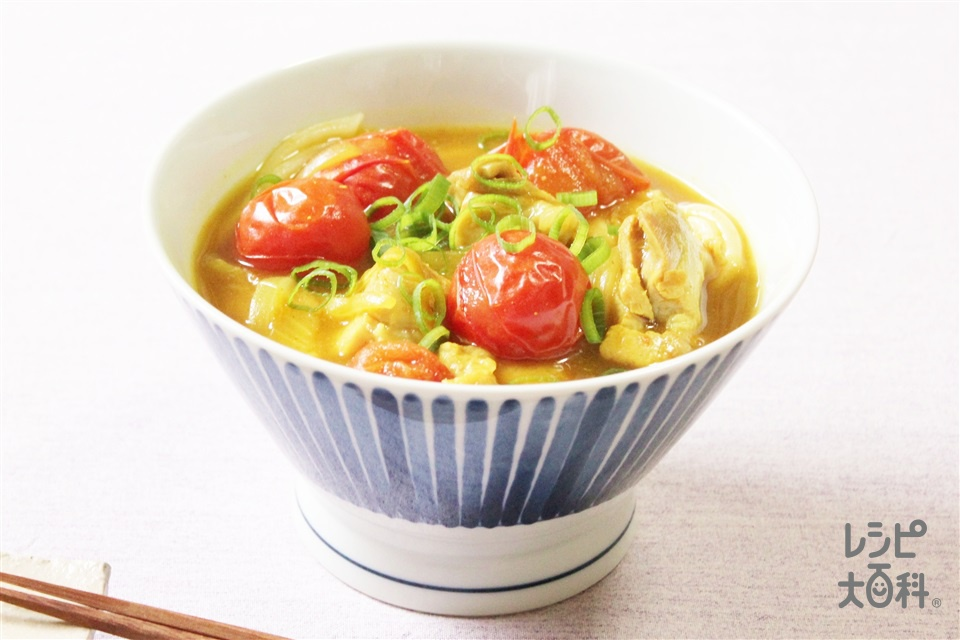 鶏とトマトのカレーうどん(冷凍うどん+鶏もも肉を使ったレシピ)