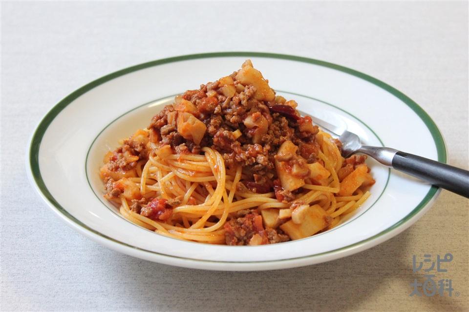 根菜のボロネーゼスパゲティ(スパゲッティ+カットトマト缶を使ったレシピ)