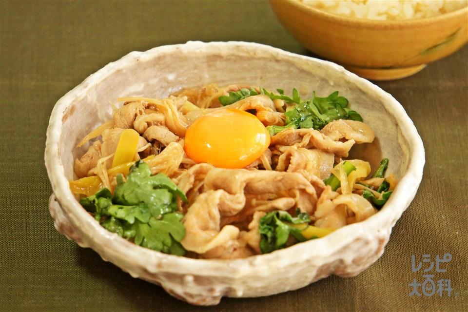 豚のすき焼き風(豚バラ薄切り肉+長ねぎを使ったレシピ)