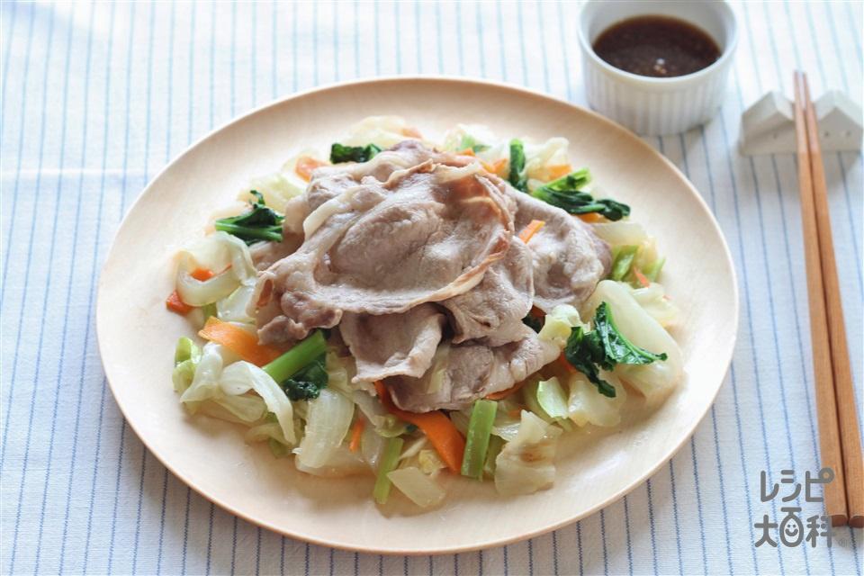 豚しゃぶ肉と野菜の蒸し物