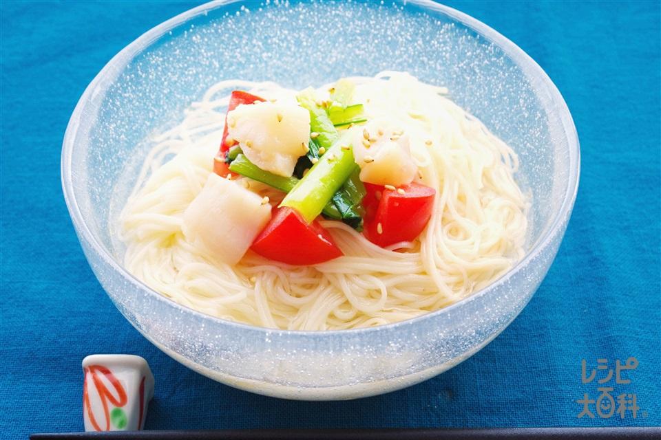ほたての小松菜の冷たい鶏だしそうめん(そうめん+帆立貝柱(刺身)を使ったレシピ)