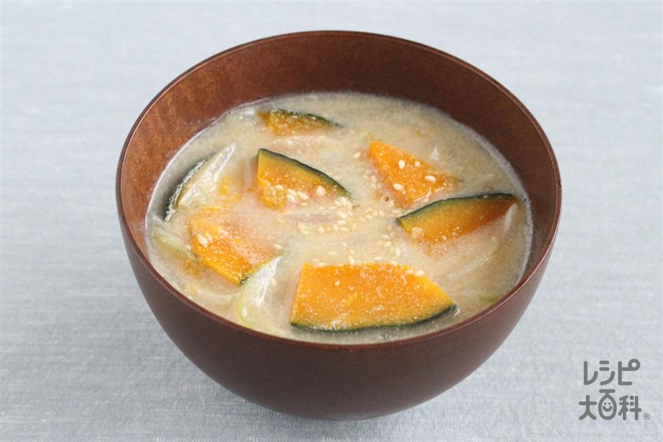 かぼちゃと玉ねぎのごま味噌汁